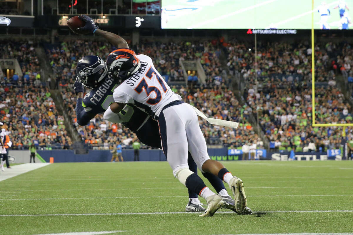2. Jazz Ferguson can ball D.K. Metcalf was getting most of the hype heading into this game, and it's easy to see why. But it was Jazz Ferguson who looked like the standout receiver of the night. The rookie wideout leveraged his impressive frame and wingspan to pull in an exceptional touchdown catch in traffic, and generally seemed to give Denver's corners a handful. The thought of the 6-foot-5 Ferguson and 6-foot-4 Metcalf terrorizing opposing defenses is certainly intriguing - and the former showed that he has what it takes to be an immediate contributor.