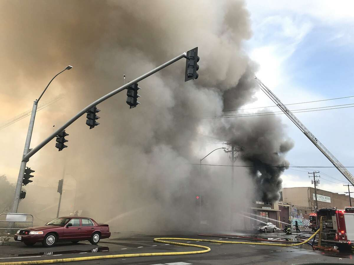 Warehouse fire in Oakland, Calif. on Friday, Aug. 9, 2019.