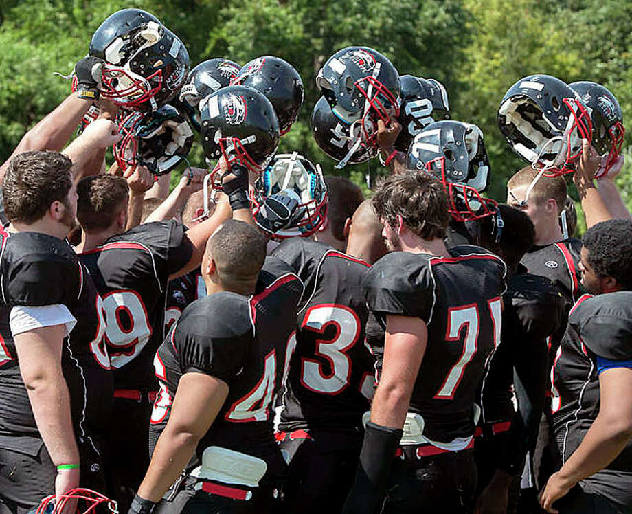 SIUE club football team players gather on the sideline following a game against Columbus State. New SIUE athletic director Tim Hall said that the addition of an NCAA Division II football program is unlikely in the foreseeable future. Photo: SIUE