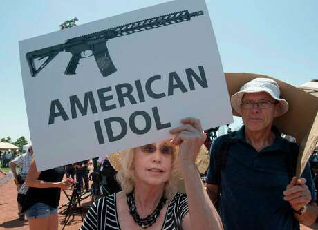 El Paso residents protest on Aug. 7 against the visit of President Donald Trump to the city after the Walmart shooting that left 22 people dead.