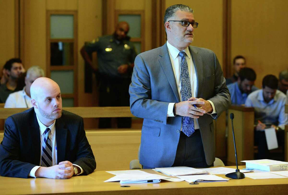 State's Attorney Richard Colangelo, right, requested a gag order in the Fotis Dulos case.