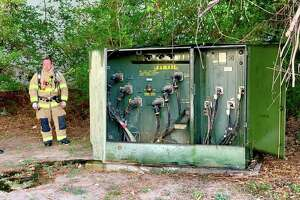 An Entergy Texas electrical transformer fire behind Los Cucos Mexican Cafe in The Village of Panther Creek at about 7:30 a.m. on Wednesday, Aug. 7, was quickly contained by firefighters from The Woodlands Fire Department. The transformer was one of two Entergy transformers to catch on fire on Wednesday. The other occurred at about 8:30 p.m. at the CVS Distribution Center.
