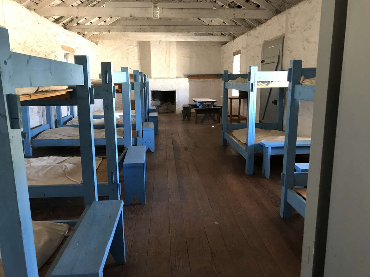 In the early days at Fort McKavett, enlisted men slept four to a bunk bed, two on the top bed, two on the bottom, head to toe at opposite ends.