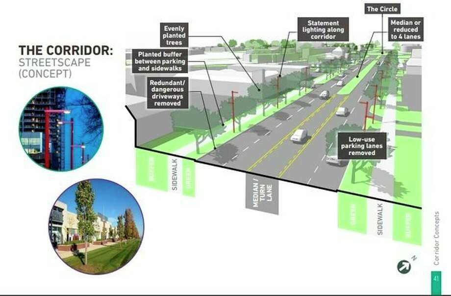 Concepts for the Saginaw Road Corridor show adding a median, removing low-use parking lanes and adding additional lighting. (Photo provided)