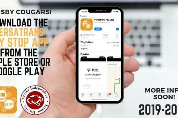 Crosby ISD announces the new Versatrans My Stop app on its Facebook page