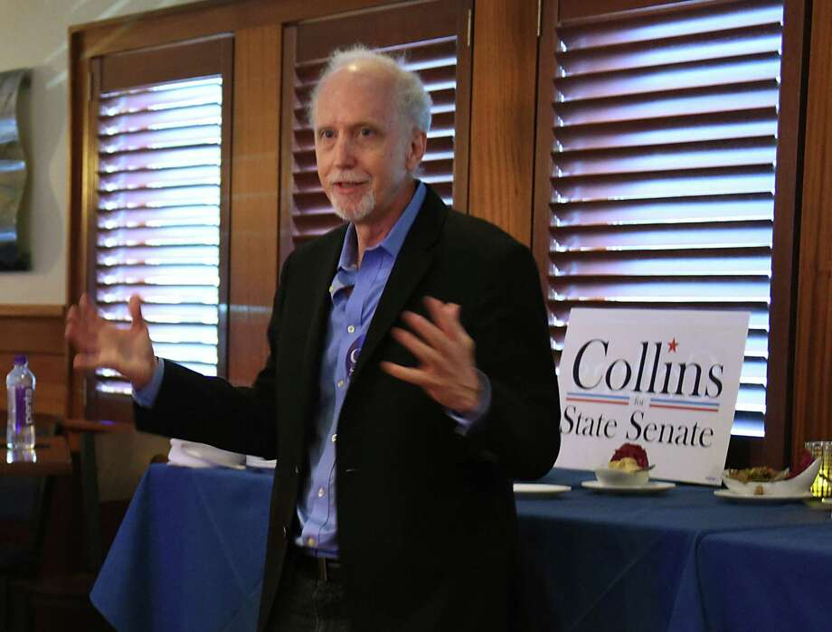 Jeff Collins, Woodstock resident and activist, who is running for the Democratic nomination for New York State's 46th Senate District, holds the second of five campaign launches at Athos restaurant on Thursday, Aug. 8, 2019 in Guilderland N.Y. (Lori Van Buren/Times Union) Photo: Lori Van Buren, Albany Times Union / 40047554A
