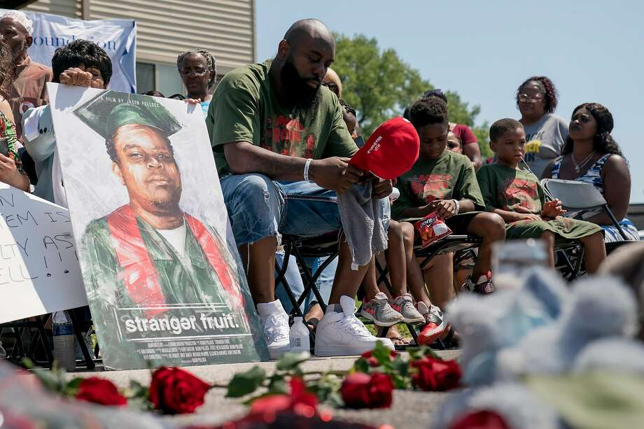 Michael Brown Sr. attends a memorial for his son, Michael Brown Jr., on the fifth anniversary of his death, in Ferguson, Mo. A police officer fatally shot Michael Brown Jr. Photo: Whitney Curtis / New York Times