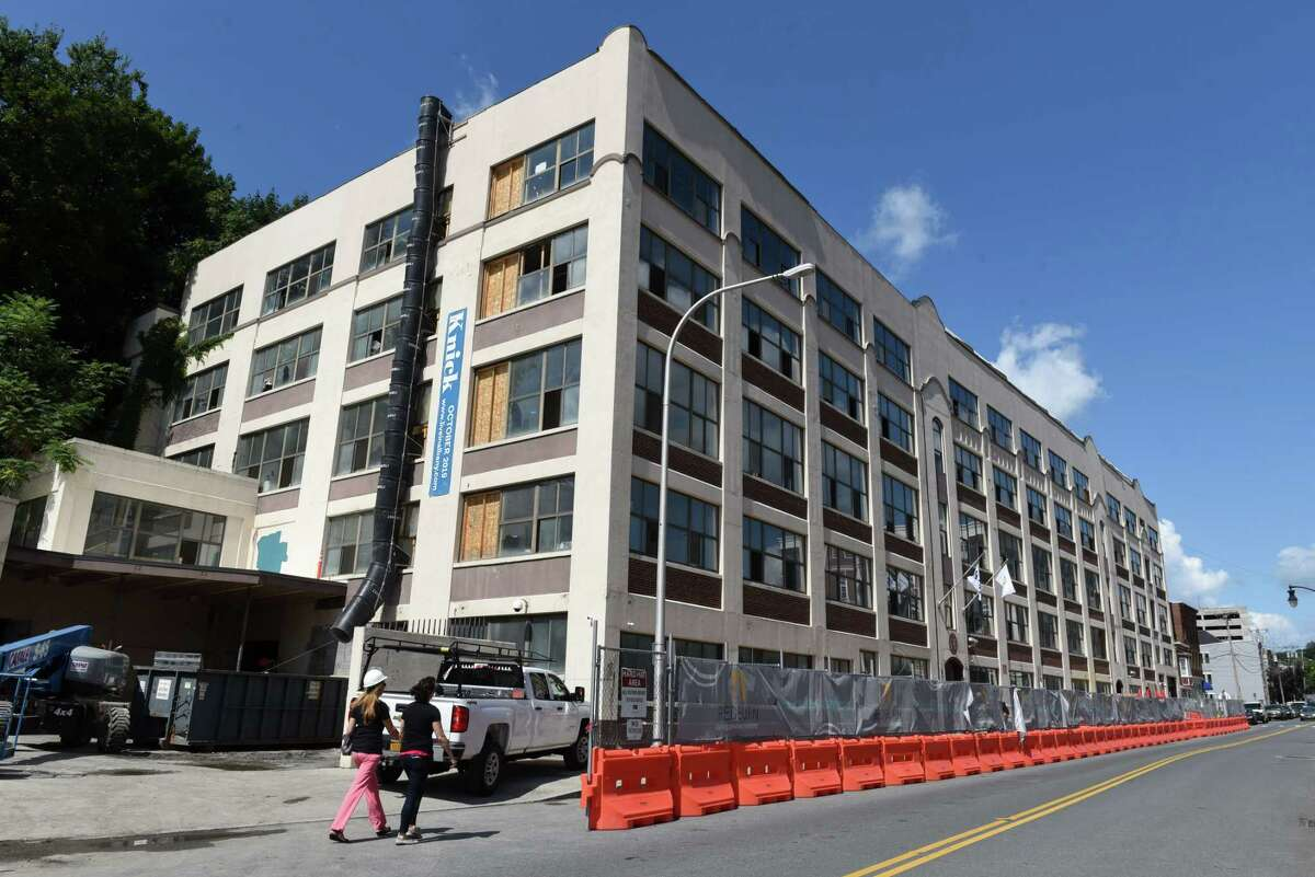 Exterior of The Knick, a mixed use 132 apartment space on Sheridan Avenue being converted by Redburn Development on Friday, Aug. 9, 2019, in Albany, N.Y. (Will Waldron/Times Union)
