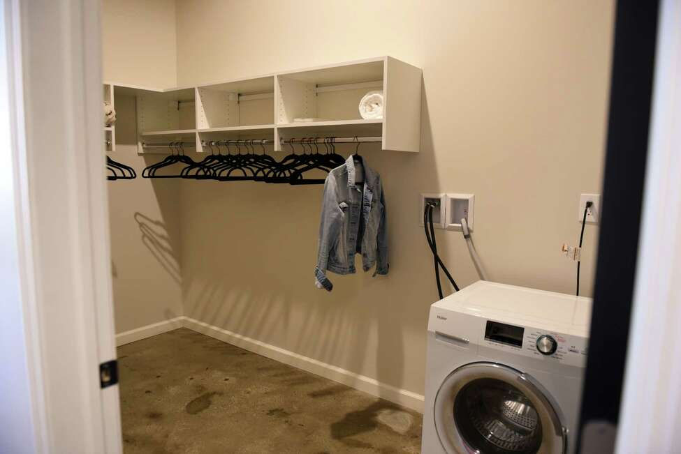 Apartment closet and laundry room inside The Knick, a mixed use 132 apartment space on Sheridan Avenue being converted by Redburn Development Partners, on Friday, Aug. 9, 2019, in Albany, N.Y. (Will Waldron/Times Union)