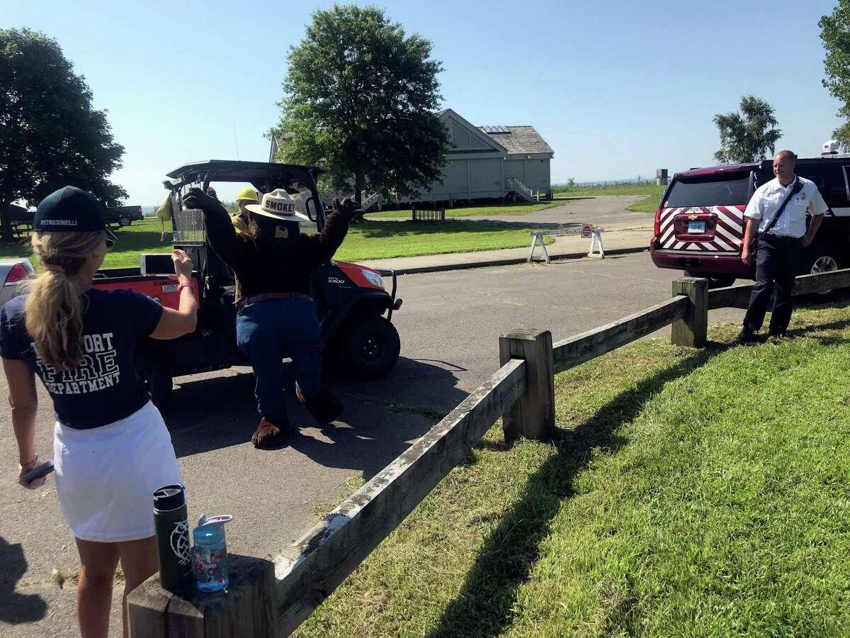 Smokey Bear arrives at Sherwood Island Park to celebrate his 75th birthday. Taken Aug. 9, 2019 in Westport, CT.