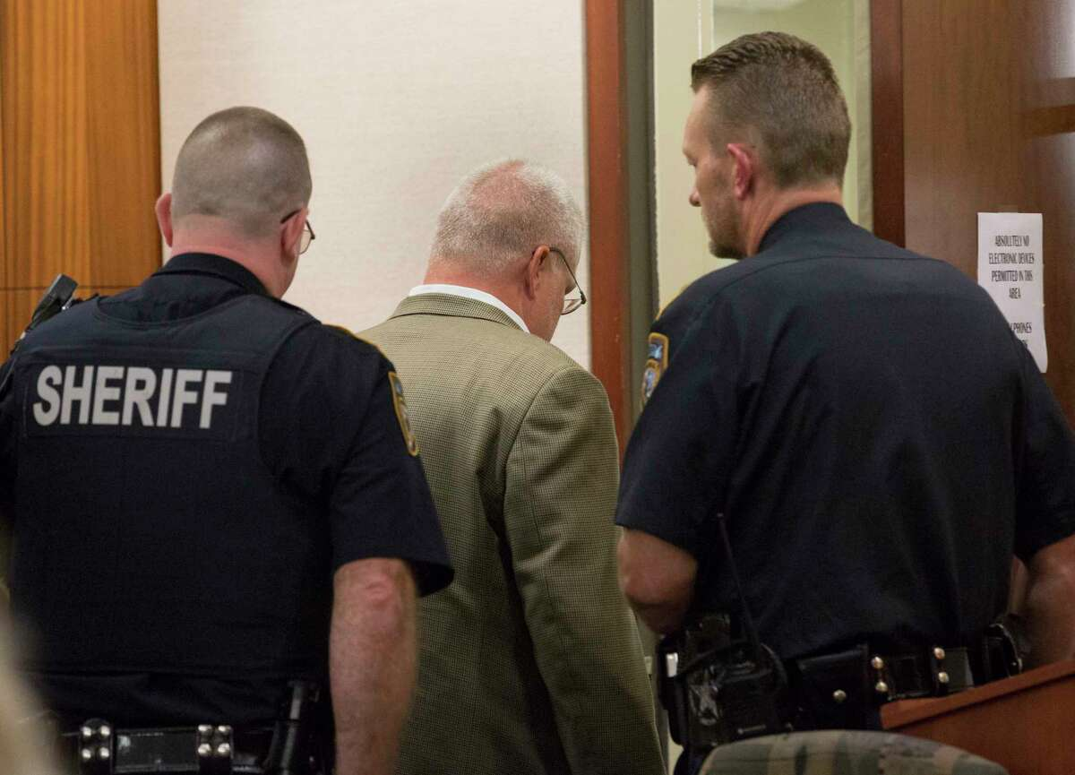 David Temple is taken into custody after District Judge Kelli Johnson declared mistrial in the sentencing phase of his retrial for murdering killing his then pregnant wife, Belinda Lucas Temple, at Harris County Criminal Courts buildling on Friday, Aug. 9, 2019, in downtown Houston. Temple was originally convicted of the 1999 crime during a 2007 trial, but the conviction was overturned by an appeals court nearly 10 years later.