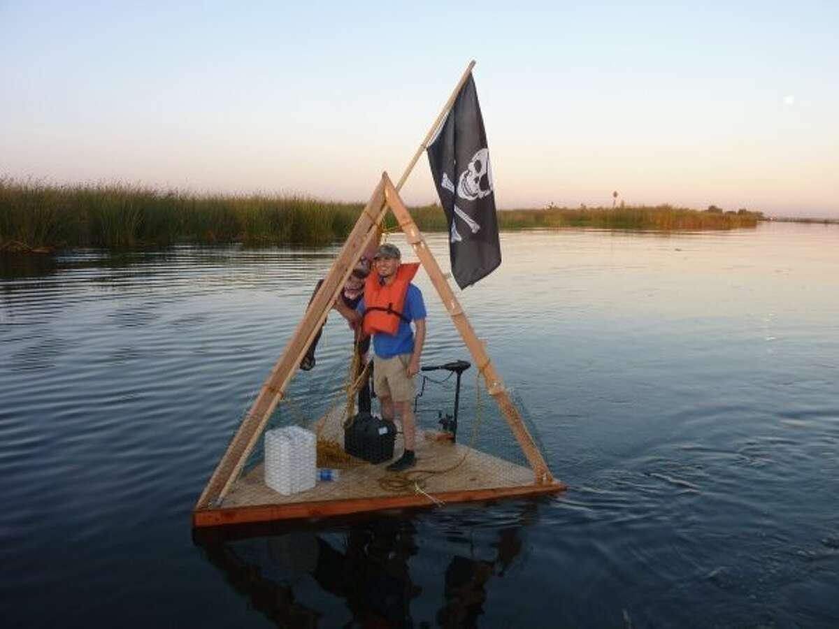 Ephemerisle founder Patri Friedman floats on a homemade pyramid raft at the inaugural Ephemerisle event in 2009.