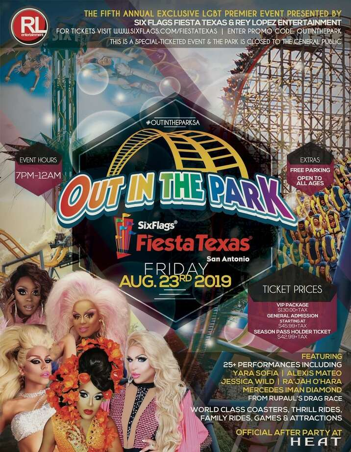 "Celebrity performers from ""RuPaul's Drag Race"" will hit the stage for an annual LGBTQ event at Six Flags Fiesta Texas this summer. Photo: Six Flags Fiesta Texas"