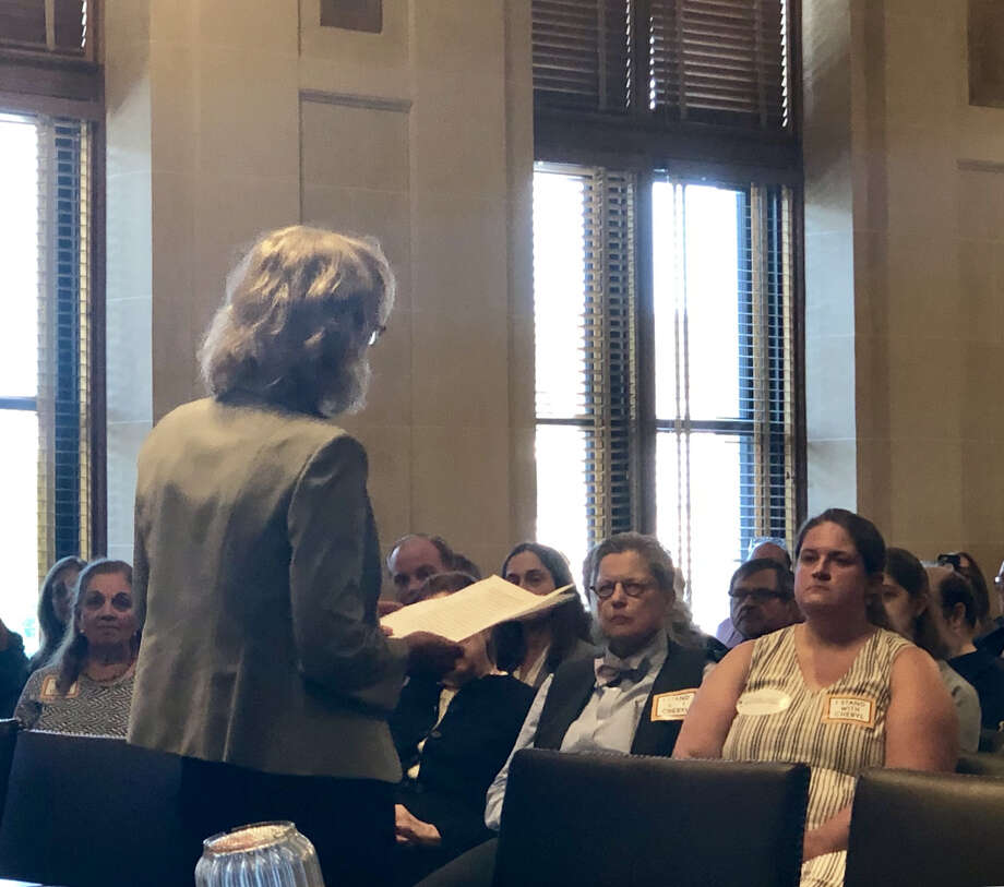 Cheryl Roberts, a Columbia County Democrat, tells judicial delegates in Albany that she's declining to run for a state Supreme Court judgeship. Photo: Chris Bragg