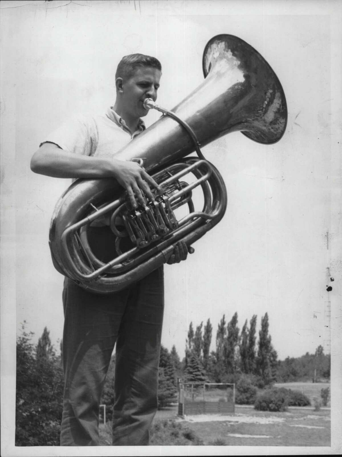 Bill Weisenback plays tuba at Camp Pinnacle in New York. August 09, 1963 (Times Union Archive)