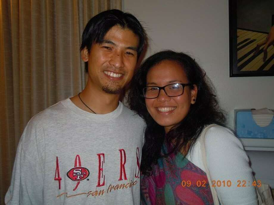 Brandon Lee is pictured with friend Faye Lacanilao at a farewell party in 2010. Lee, an indigenous rights activist and volunteer in the Philippines, was shot, reportedly by government forces, and is in critical condition. Photo: Courtesy Of Faye Lacanilao