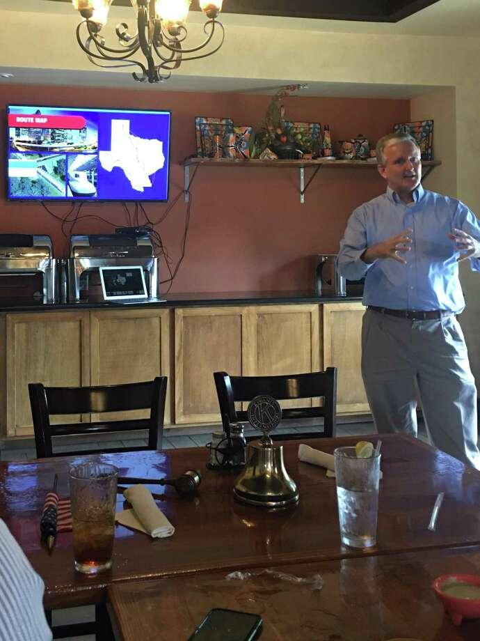 David Hagy with Texas Central at this week's Conroe Noon Kiwanis meeting. Photo: Courtesy Photo
