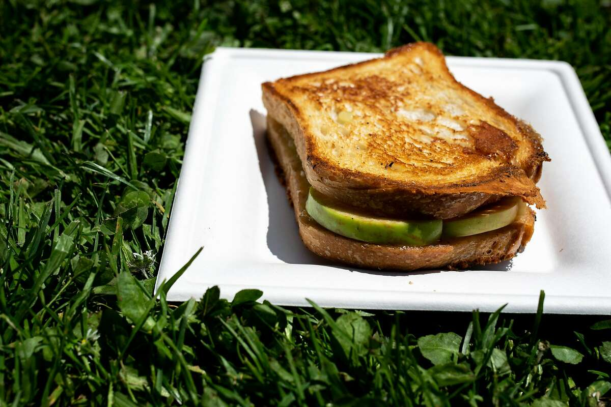 Grilled cheese with gravenstein apples and honey from the Farmer�s Wife at Outside Lands on Friday, Aug. 9, 2019, in San Francisco, Calif.