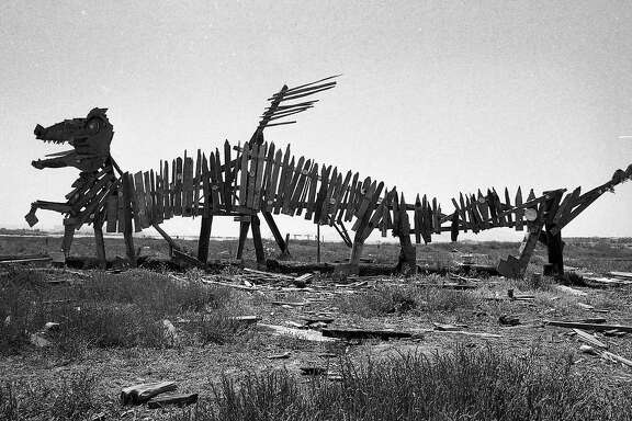 Art sculptures made from driftwood and wood scraps on the Emeryville mud flats were easily seen from the freeway and bridge approaches, May 29, 1977