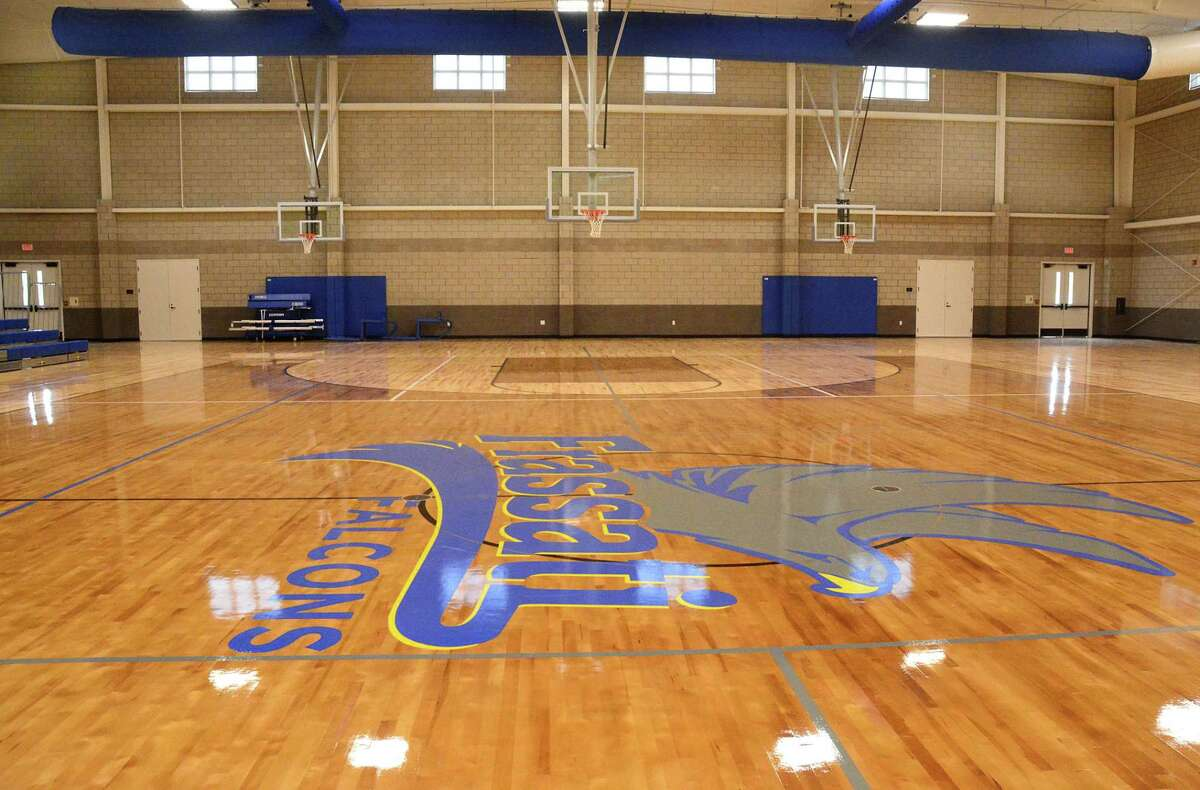 The Frassati Falcons logo adorns the gymnasium floor at Frassati Catholic High School's Student Life Building in Spring.