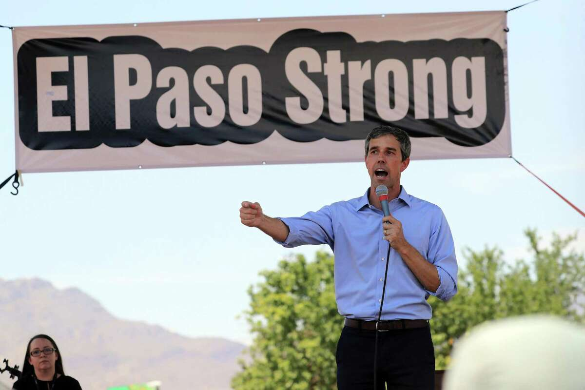 Beto O'Rourke, a Democratic candidate for president, addresses a rally held to denounce President Donald Trump's visit to El Paso, Texas, on Wednesday, Aug. 7, 2019. Trump is visiting El Paso and Dayton, Ohio, on Wednesday in an attempt to deliver a message of national unity and healing to two cities scarred by mass shootings over the weekend and where many grieving residents hold him responsible for inflaming the country's racial divisions. (Jim Wilson/The New York Times)