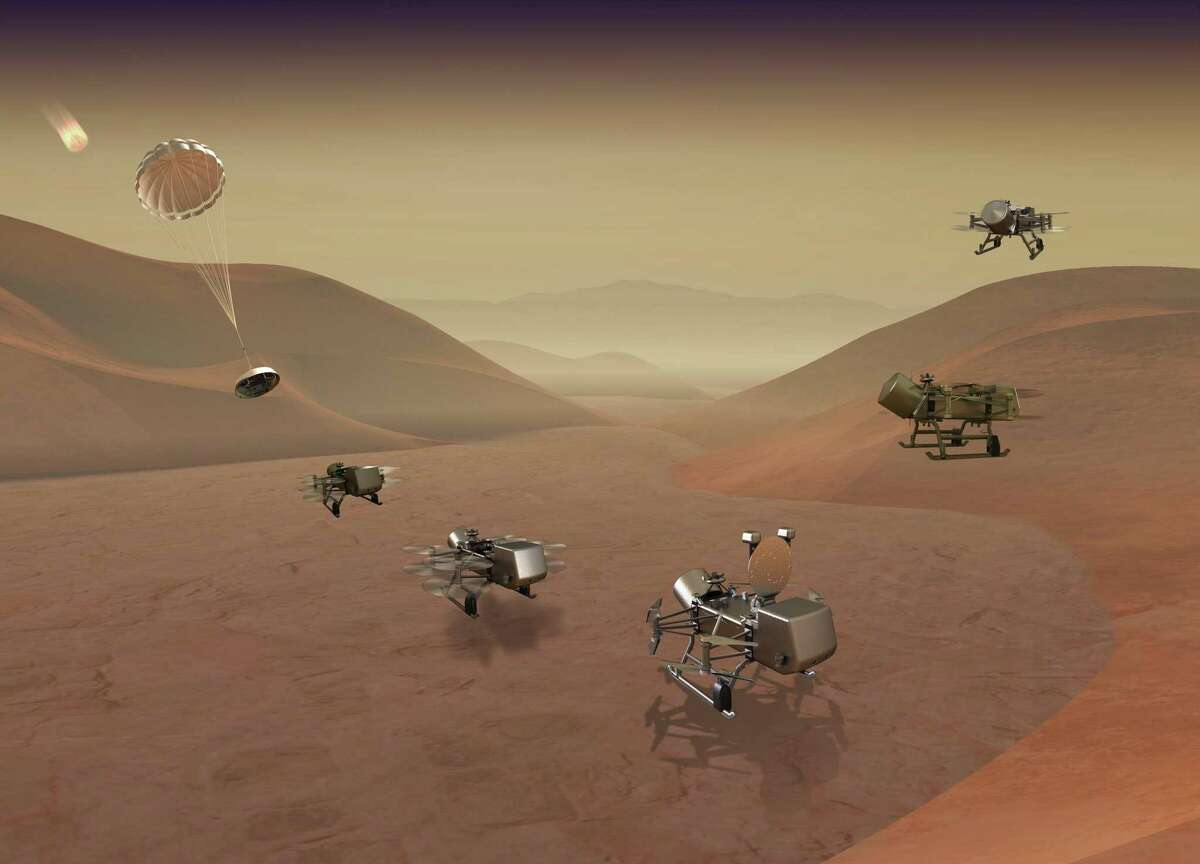 Dragonfly mission illustration showing entry, descent, landing, surface operations and flight on Titan.