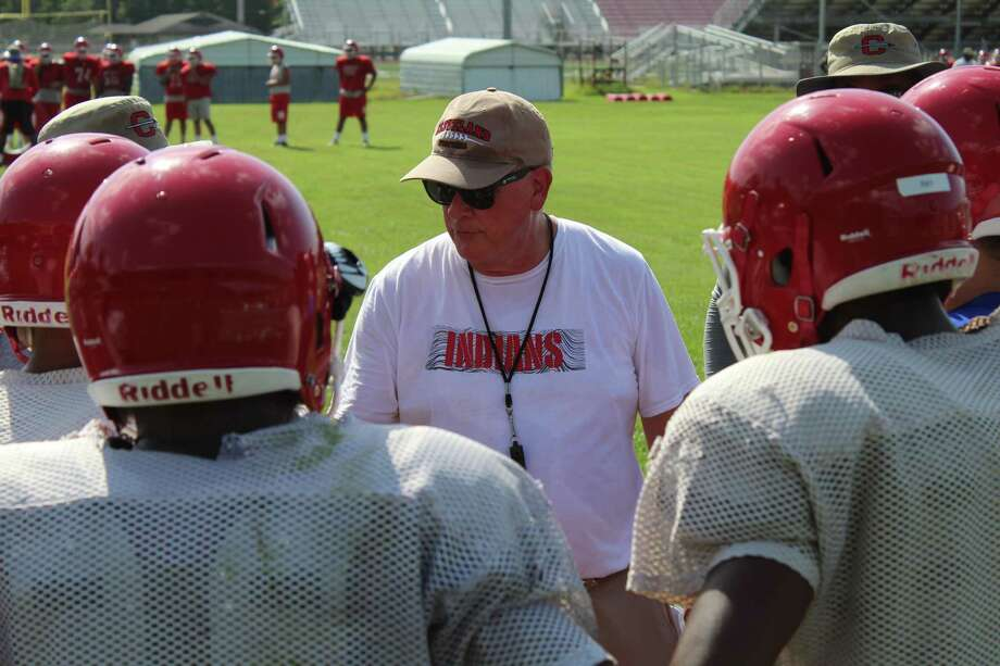 Cleveland AD/head football coach Norris Taff talking to his players at football practice on Aug. 5 to open the 2019-2020 football season. Photo: Marcus Gutierrez Staff Photo