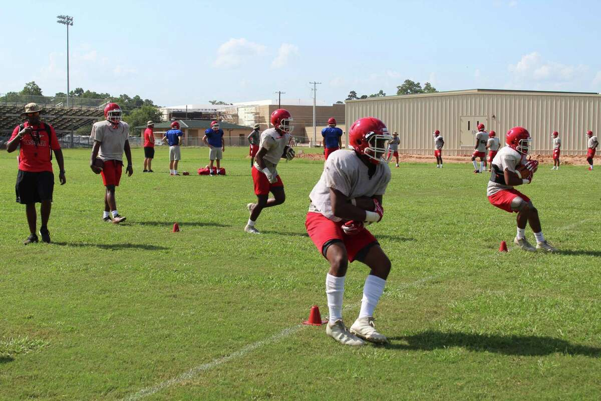 Cleveland football team practices Aug. 5. The Indians will face Katy Paetow at 7 p.m. Saturday.