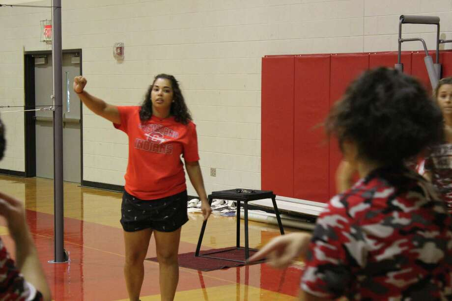 Lacey Raska is in her first season coaching the Lady Indians. She spent last season as an assistant coach on the volleyball staff. Photo: Marcus Gutierrez Staff Photo