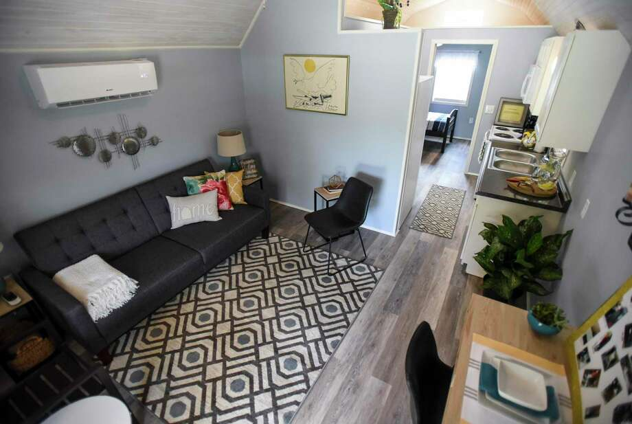 The interior of a tiny home that is part of the Veterans Village in Kirbyville on Friday.