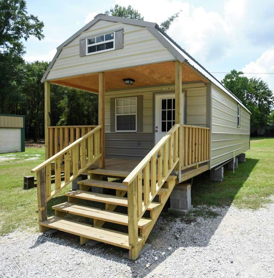 The exterior of a tiny home that is part of the Veterans Village in Kirbyville on Friday.