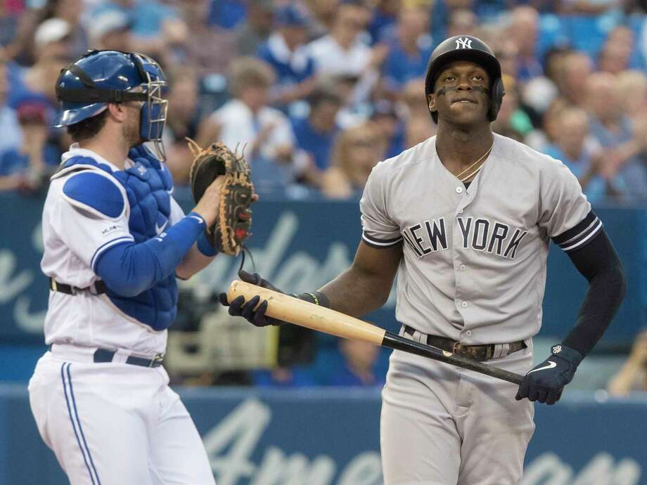 New York Yankees' Cameron Maybin reacts after striking out against the Toronto Blue Jays during the first inning of a baseball game Friday, Aug. 9, 2019, in Toronto. (Fred Thornhill/The Canadian Press via AP) Photo: Fred Thornhill / The Canadian Press
