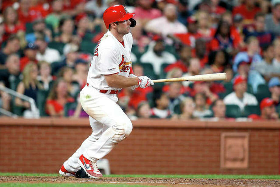 The Cardinals' Paul Goldschmidt hits an RBI-single in the eighth inning of Friday night's game against the Pittsburgh Pirates at Busch Stadium. Photo: Scott Kane | AP Photo