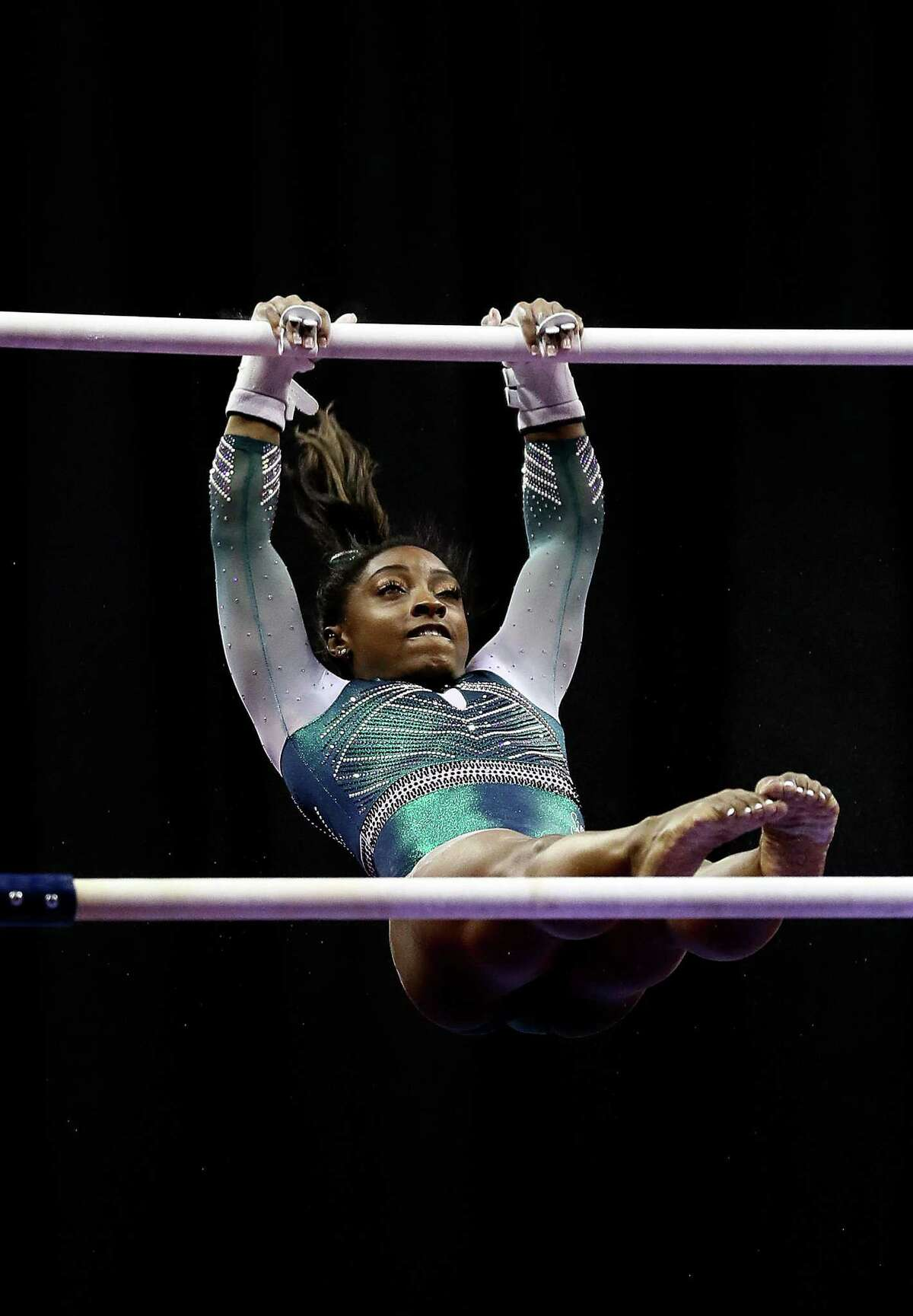 Simone Biles competes on the uneven bars during the Senior Women's competition of the 2019 U.S. Gymnastics Championships at the Sprint Center on August 09, 2019 in Kansas City, Missouri.