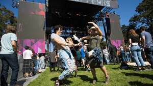 Festivalgoers dance to Auruora at the 2019 Outside Lands in Golden Gate Park in San Francisco, Calif. on August 9, 2019.