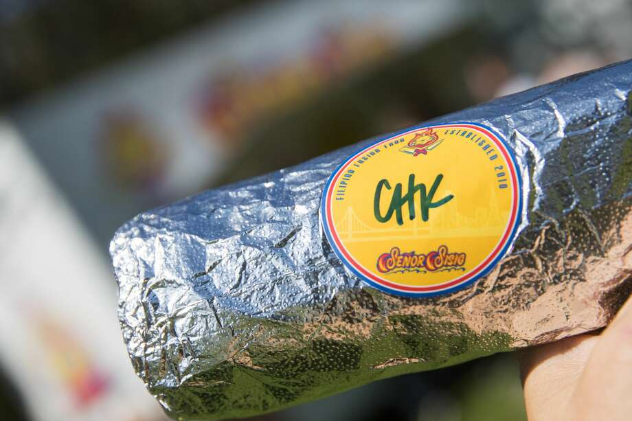 A Senor Sisig burrito at the 2019 Outside Lands in Golden Gate Park in San Francisco, Calif. on August 9, 2019. Photo: Douglas Zimmerman/SFGate.com