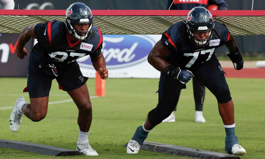 PHOTOS: Texans preseason vs. Rams  Houston Texans tight end Darren Fells (87) and tackle Martinas Rankin (77) fire off the line during training camp at the Methodist Training Center on Aug. 10, 2019, in Houston.  >>>See photos from the Texans' preseason finale against the Rams on Thursday ...  Photo: Brett Coomer, Staff Photographer / © 2019 Houston Chronicle