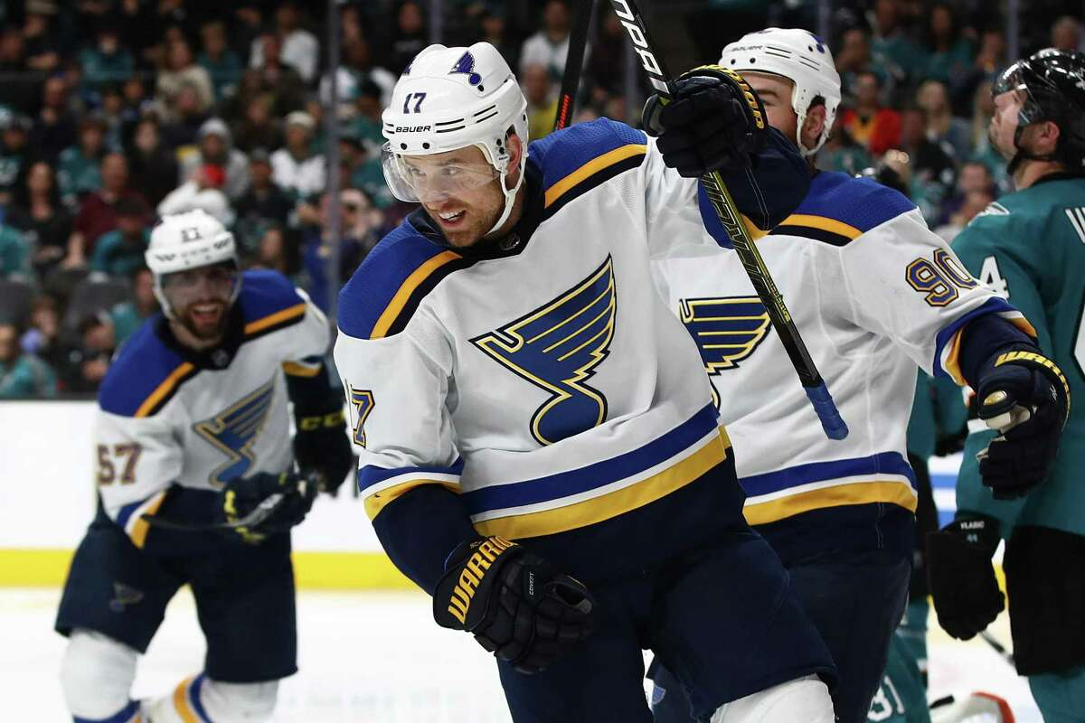The Blues' Jaden Schwartz celebrates a goal against the San Jose Sharks in Game 5 of the Western Conference final in May.