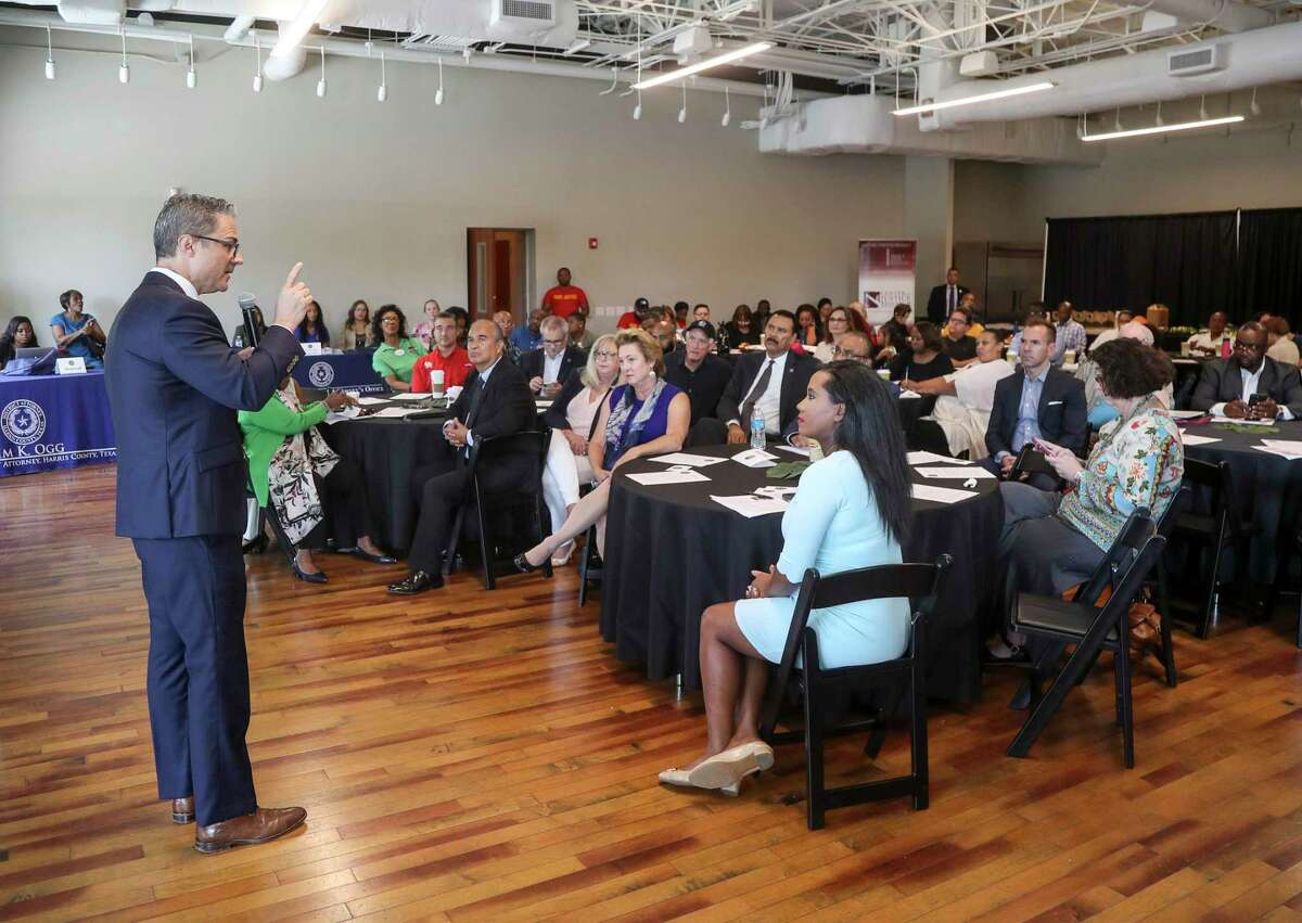 John Jordan, chief of the Harris County District Attorney's Office Juvenile Division, speaks about programs in the Fifth Ward neighborhood during a community meeting on Saturday, Aug. 10, 2019, in Houston.