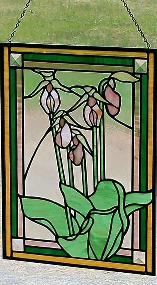"""""""Lady Slippers"""" is a stained glass work by Carolyn Adamczyk, oneof the artists featured on the Sacandaga Valley Arts Network's Arts Trail Tour on Aug. 24-25, 2019. (Photo provided)"""