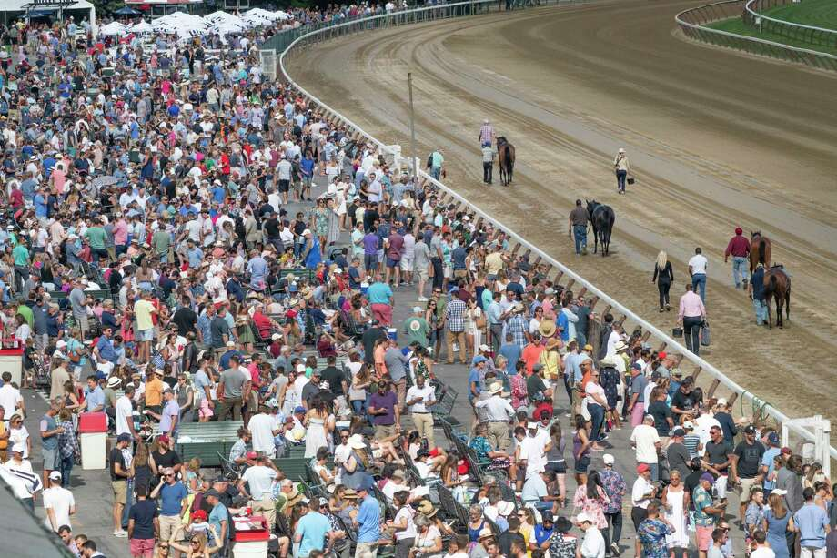 A large crowd was on hand for the days racing at the Saratoga Race Course Saturday Aug.10, 2019 in Saratoga Springs, N.Y.  Photo Special to the Times Union by Skip Dickstein