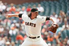 SAN FRANCISCO, CALIFORNIA - AUGUST 10: Jeff Samardzija #29 of the San Francisco Giants pitches in the top of the first inning against the Philadelphia Phillies at Oracle Park on August 10, 2019 in San Francisco, California. (Photo by Lachlan Cunningham/Getty Images)