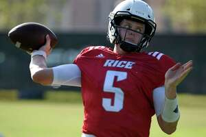 Rice quarterback Wiley Green throws a pass during an intersquad scrimmage, Saturday, Aug. 9, 2019, at Rice University in Houston.