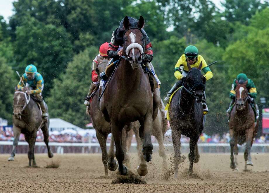 Green Light Go with jockey Junior Alvarado aboard wins the 114th running of The Saratoga Special at the Saratoga Race Course Saturday Aug.10, 2019 in Saratoga Springs, N.Y.  Photo Special to the Times Union by Skip Dickstein