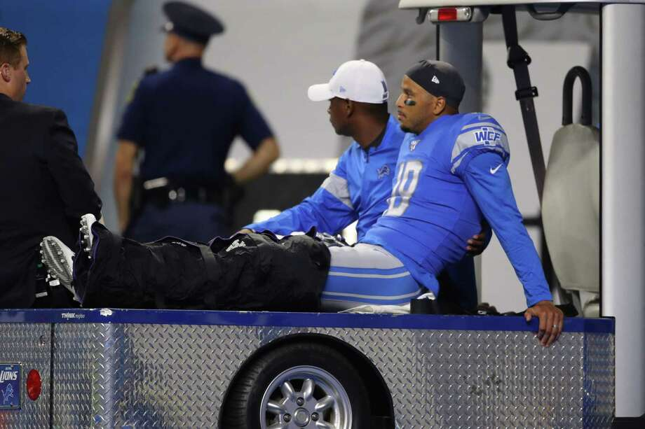 DETROIT, MICHIGAN - AUGUST 08:  Jermaine Kearse #18 of the Detroit Lions leaves the field after injury while playing the New England Patriots in a preseason game at Ford Field on August 08, 2019 in Detroit, Michigan. (Photo by Gregory Shamus/Getty Images) Photo: Gregory Shamus / 2019 Getty Images