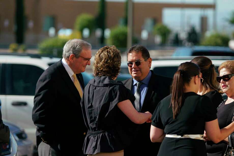 El Paso mayor Dee Margo, left, speaks to the family of Andre Anchondo, prior to the funeral services of Jordan Anchondo at San Jose Funeral Homes in El Paso, Texas on Saturday, Aug. 10, 2019.   Andre and Jordan Anchondo, were among the several people killed last Saturday, when a gunman opened fire inside a Walmart packed with shoppers. Authorities say Jordan Anchondo was shielding the baby, while her husband shielded them both.  (AP Photo/Jorge Salgado) Photo: Jorge Salgado / Associated Press