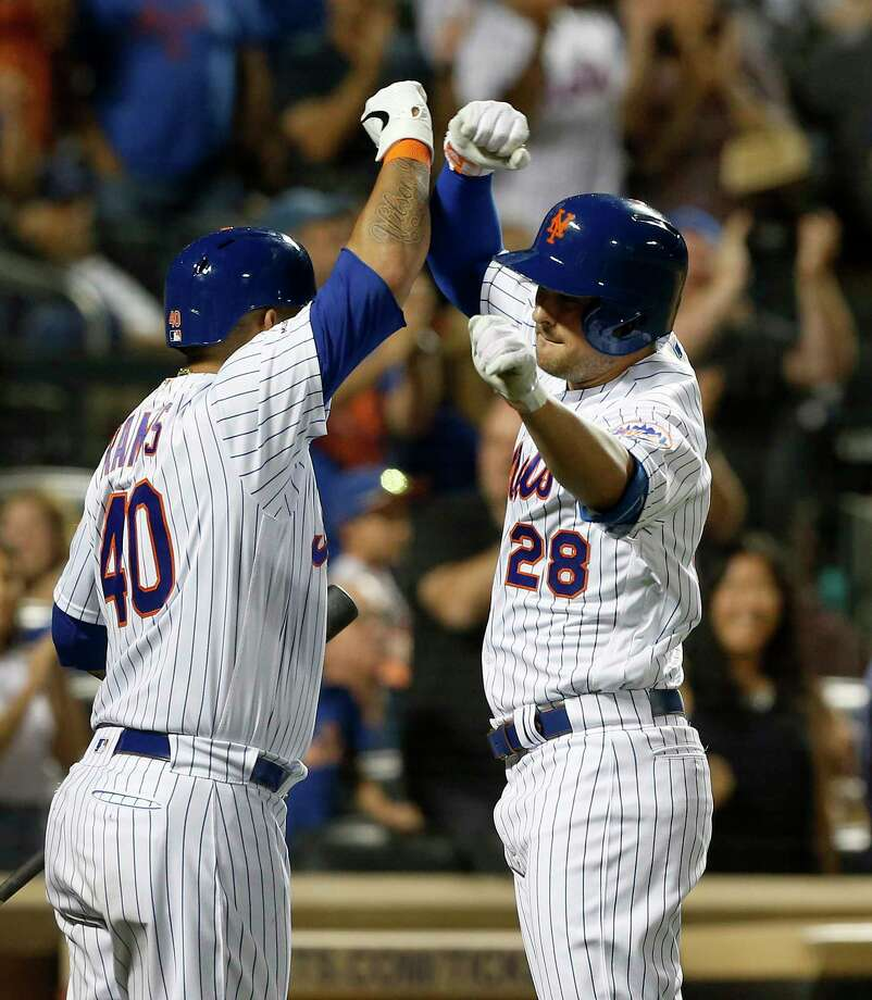 NEW YORK, NEW YORK - AUGUST 10:   J.D. Davis #28 of the New York Mets celebrates his fourth inning home run against the Washington Nationals with teammate Wilson Ramos #40 at Citi Field on August 10, 2019 in New York City. (Photo by Jim McIsaac/Getty Images) Photo: Jim McIsaac / 2019 Getty Images