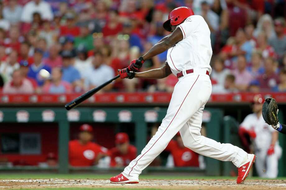 CINCINNATI, OH - AUGUST 10:  Aristides Aquino #44 of the Cincinnati Reds hits a solo home run for his third home run of the game during the third inning against the Chicago Cubs at Great American Ball Park on August 10, 2019 in Cincinnati, Ohio. (Photo by Kirk Irwin/Getty Images) Photo: Kirk Irwin / 2019 Getty Images