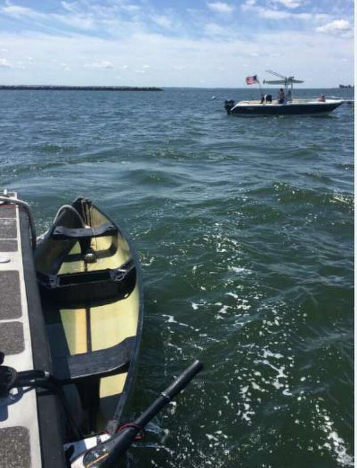 The U.S. Coast Guard suspended the search for the owner of a capsized canoe north of the western break wall in the Stamford Harbor on Saturday, Aug. 10, 2019. Photo: Contributed Photo / Contributed / The News-Times Contributed