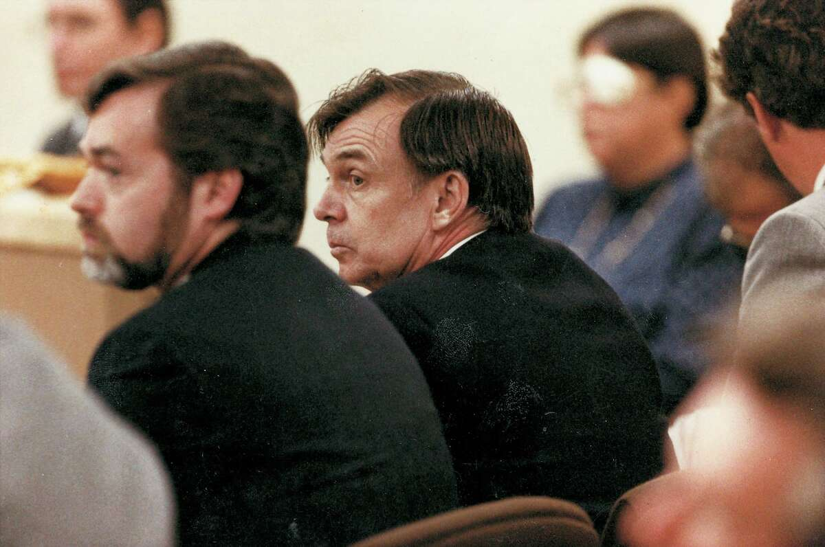 Richard Crafts, center, listens as he is pronounced guilty of the murder of his wife, Helle, by the Connecticut Superior Court. One of his attorneys, Gerard Smyth, is to his left.